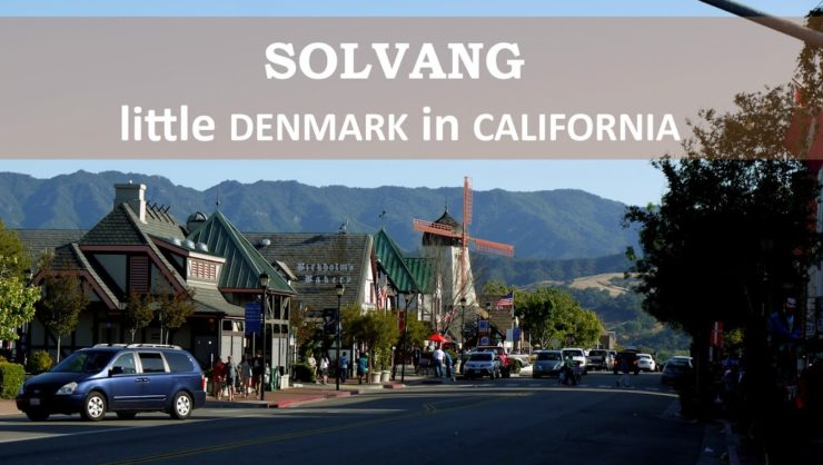 Solvang street with windmill