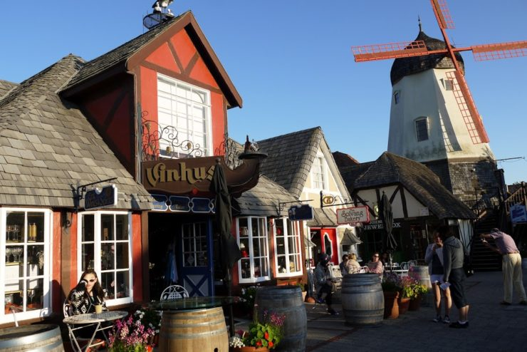 Solvang main street with windmill