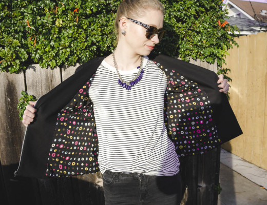 Sewed a motto style jacket Butterick pattern B6169 motto style jacket