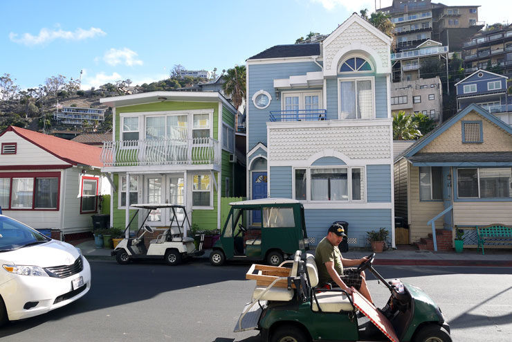 Cute houses and golf carts in Catalina Island i