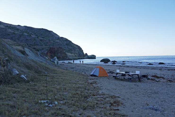 Parsons Landing campsite at Catalina Island