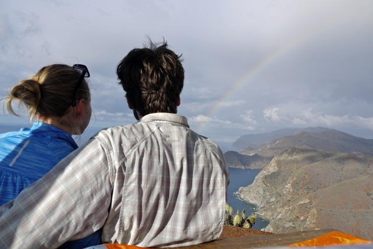 Couple at Catalina Island with the rainbow