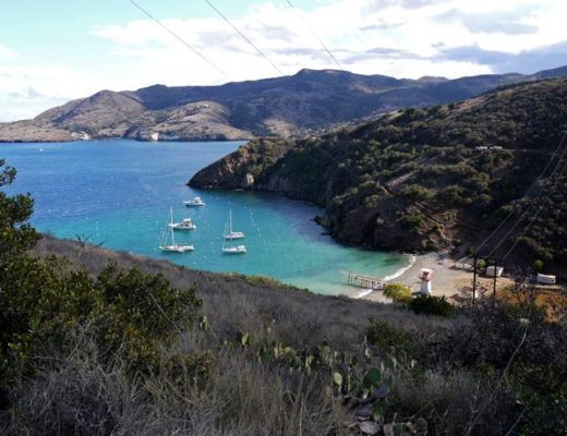 Overlook from the top one of the Catalina ISland harbours