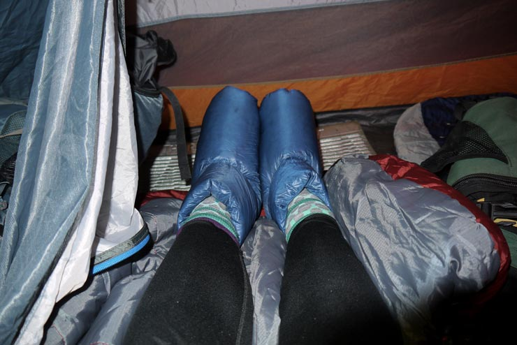 Wearing down booties in sleeping bag